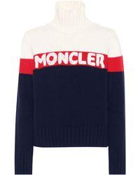 Moncler Pullover Aus Einer Woll-kaschmirmischung Mit Stehkragen - Blau