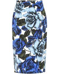 Prada Floral Cotton-poplin Skirt - Blue