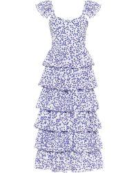 Caroline Constas Robe midi Elba imprimée en coton - Bleu
