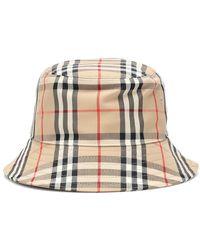 Burberry Cappello da pescatore in tartan - Neutro
