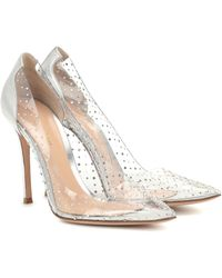 Gianvito Rossi Exclusive To Mytheresa – Plexi 105 Embellished Leather Court Shoes - Metallic
