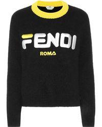 Fendi - Bestickter Pullover Aus Einer Woll-kaschmirmischung Mit Stehkragen - Lyst