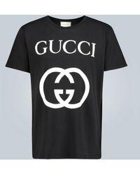 Gucci Tee-shirt en coton oversize GG - Noir