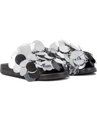 Paco Rabanne Sequined Slides - Metallic