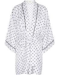 Rodarte Bata de sarga de seda con lunares - Blanco
