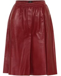JOSEPH Tomy Leather Bermuda Shorts - Red