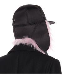 Prada Gorra de nylon con mohair - Negro
