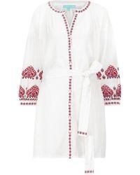 Melissa Odabash Exclusivo en Mytheresa – caftán Tania de algodón y lino - Blanco