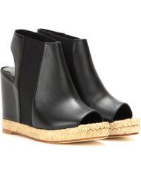 Balenciaga Rope Leather Peep-toe Wedges - Black