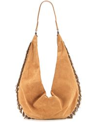 The Row Sling 15 Suede Shoulder Bag - Natural