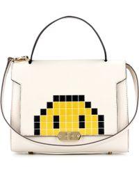 Anya Hindmarch Pixel Smiley Bathurst Small Leather Shoulder Bag - Gray