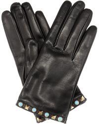 Valentino Rockstud Leather Gloves - Black