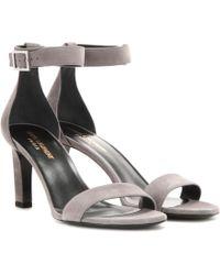 Saint Laurent Grace 80 Suede Sandals - Gray
