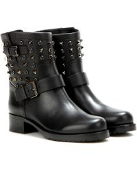 Valentino Rockstud Rolling Noir Leather Ankle Boots - Black