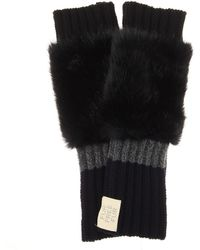 Stella McCartney - Fingerless Faux Fur-trimmed Virgin Wool Gloves - Lyst