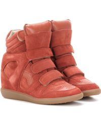 Isabel Marant Toile Bekett Leather And Suede Sneakers - Red
