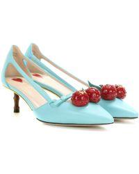 Gucci Unia Aqua Cherry Leather Slingback - Multicolor