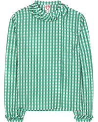 Shrimps Guinivere Checked Top - Green