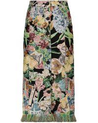 Golden Goose Christine Floral Jacquard Midi Skirt - Green