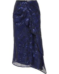Self-Portrait Sequins-covered Skirt - Blue