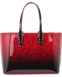 Christian Louboutin Cabata Small Patent Leather Tote - Red