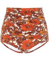 Dodo Bar Or Floral High-rise Bikini Bottoms - Orange