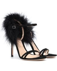 Gianvito Rossi Thais Suede And Feather Sandals - Black