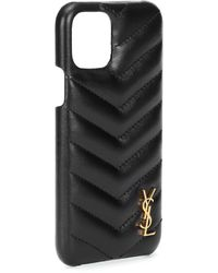 Saint Laurent Custodia per iPhone 11 Pro in pelle - Nero
