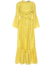 Preen By Thornton Bregazzi Tessa Ruffled Floral-jacquard Maxi Dress - Yellow