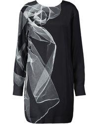 Dries Van Noten Robe imprimée en crêpe - Noir
