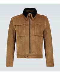 Saint Laurent Suede And Shearling Jacket - Brown