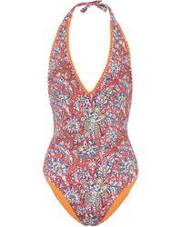 Etro Paisley-print Halterneck Swimsuit - Multicolour