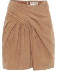 Saint Laurent Minifalda de gamuza de tiro alto - Marrón