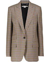 Stella McCartney Karierter Blazer aus Wolle - Natur