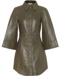 Ganni Lamb Leather Dress - Green