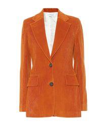 Victoria Beckham Blazer de pana de algodón - Naranja