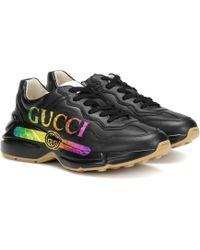 Gucci Baskets Rhyton en cuir - Noir