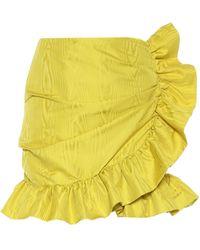 Costarellos Lunella Ruffled Taffeta Wrap Skirt - Yellow
