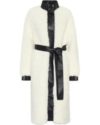 Acne Studios Orala Leather-trimmed Faux-fur Coat - White