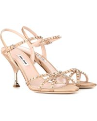 Miu Miu Embellished Satin Sandals - Pink