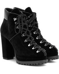 Alaïa Velvet Plateau Ankle Boots - Black