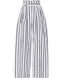 Three Graces London - Striped Linen And Cotton Trousers - Lyst