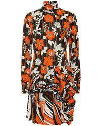 Prada Floral Mini Jersey Dress - Orange