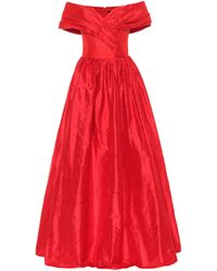 Rasario Off-the-shoulder Silk-satin Gown - Red