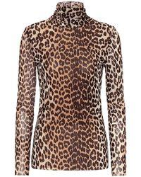 Ganni Top in mesh a stampa leopardo - Multicolore