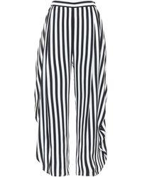 Stella McCartney Pantalon Alicia ample rayé en soie à taille haute - Noir