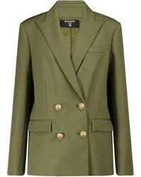Balmain Exclusivo en Mytheresa – blazer de lana de botonadura doble - Verde
