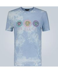 Versace - Logo-embroidered Cotton T-shirt - Lyst