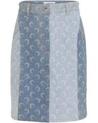 Marine Serre Minigonna di jeans a stampa - Blu