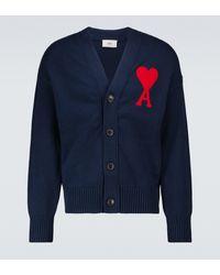 AMI Cardigan Ami de Coeur in cotone e lana - Blu